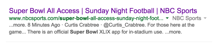 NBC Super Bowl SERP