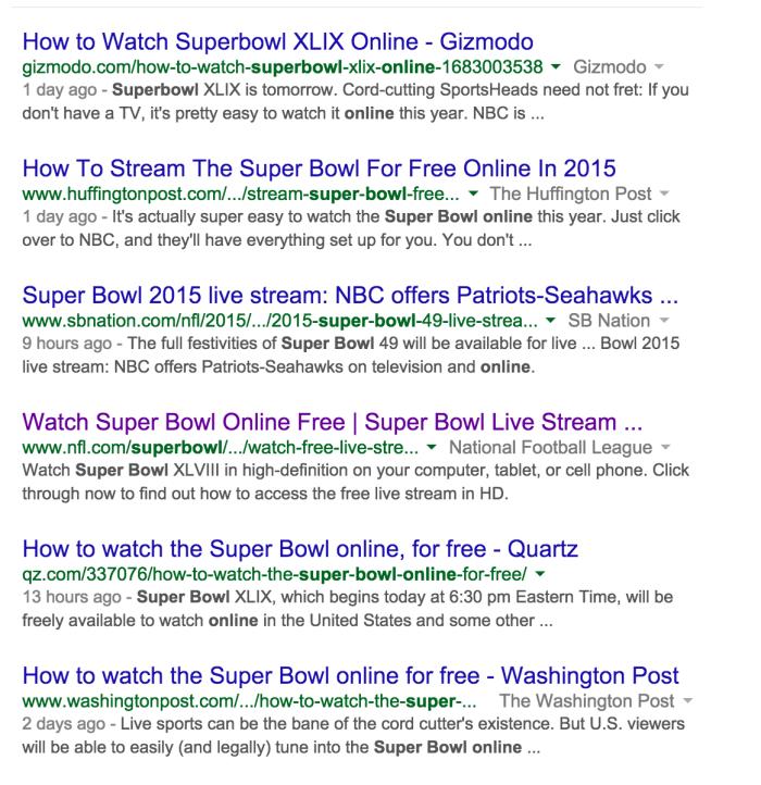 Google Super Bowl Online