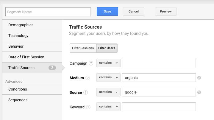 google analytics create google organic segment
