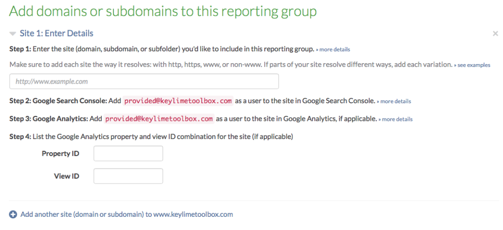 add domain to a reporting group