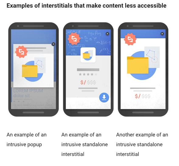 google intrusive popup examples