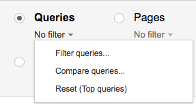 google search console filter queries