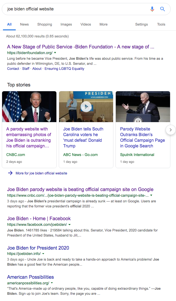 google search joe biden official site